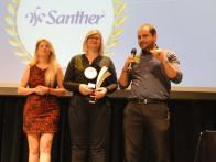 Bruno Kraide e equipe do RH Santher recebendo por Retenção de Talentos